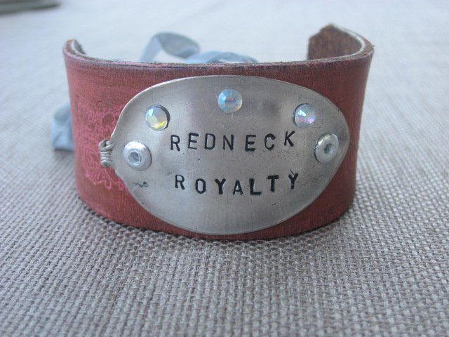 Redneck Royalty Hand Stamped Vintage Spoon/Leather Bracelets