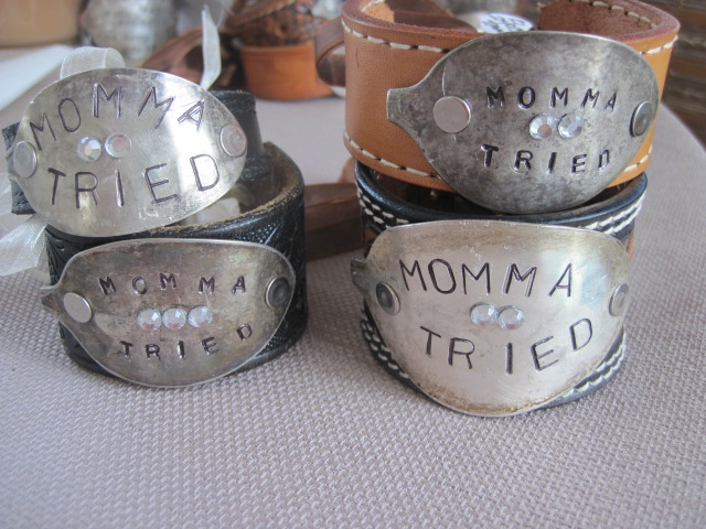 Momma Tried Hand Stamped Vintage Spoon/Leather Bracelets