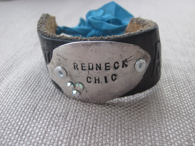 Redneck Chic Hand Stamped Vintage Spoon/Leather Bracelets