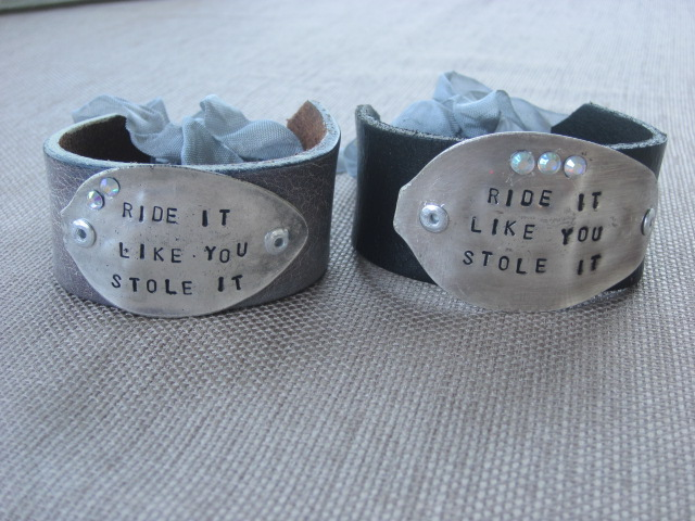 Ride It Like You Stole It Hand Stamped Vintage Spoon/Leather Bracelets