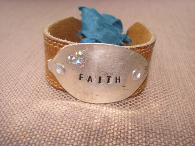 Faith Hand Stamped Vintage Spoon/Leather Bracelets