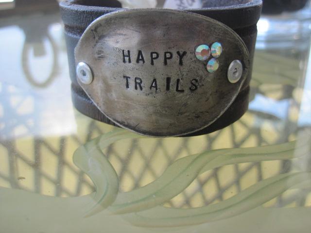 Happy Trails Hand Stamped Vintage Spoon/Leather Bracelets
