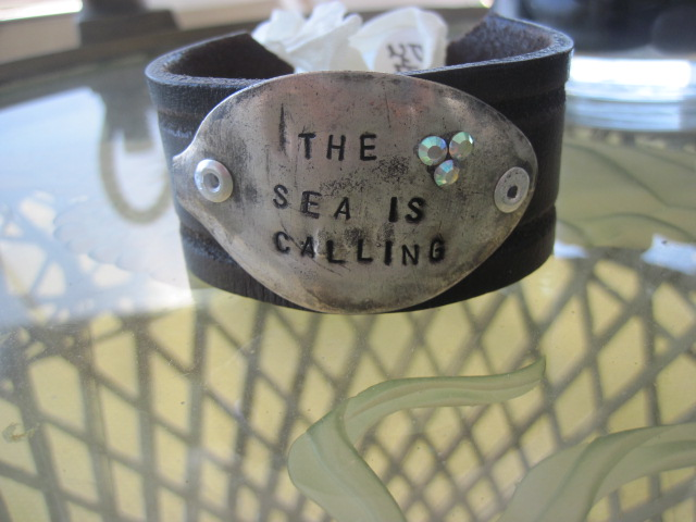 The Sea Is Calling Hand Stamped Vintage Spoon/Leather Bracelets