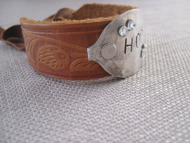 Hope Hand Stamped Vintage Spoon/Leather Bracelets