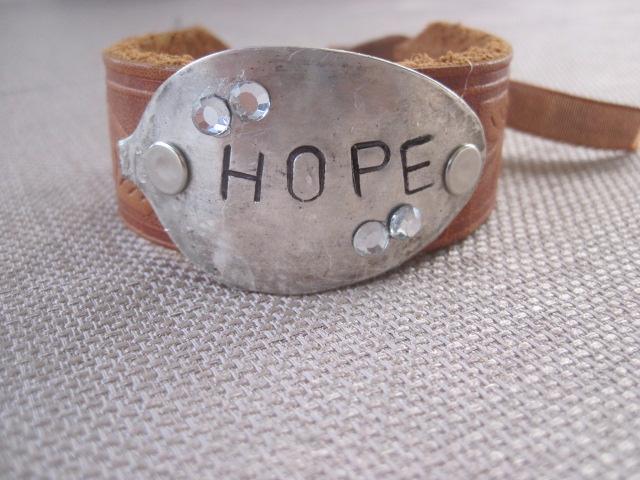 Hope Hand Stamped Vintage Spoon/Leather Bracelets
