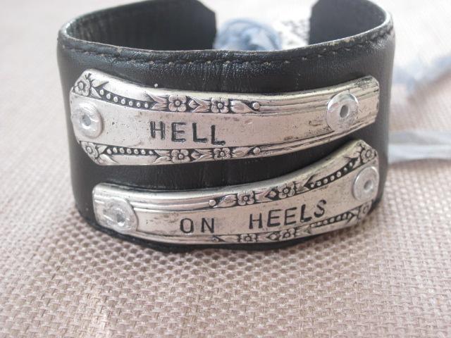 Hell On Heels Hand Stamped Vintage Spoon Handles/Leather Bracelets