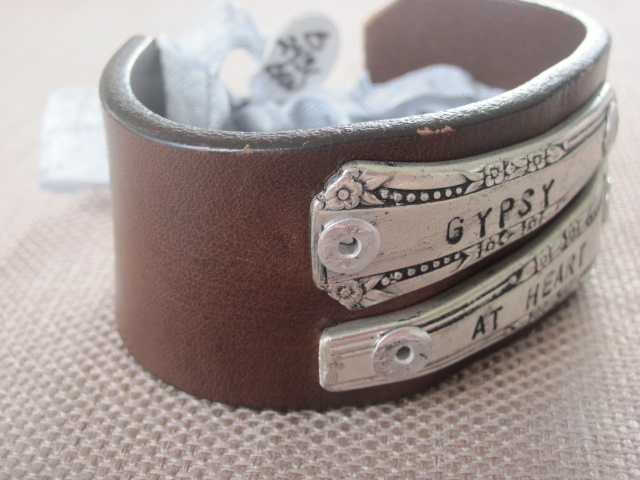 Gypsy at Heart Hand Stamped Vintage Spoon Handles/Leather Bracelets