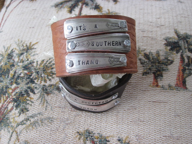 It's A Southern Thang Hand Stamped Vintage Spoon Handles/Leather Bracelets