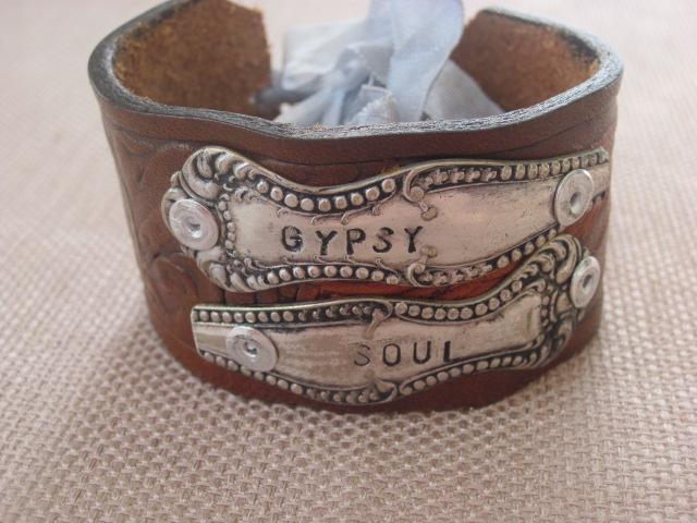 Gypsy Soul Hand Stamped Vintage Spoon Handles/Leather Bracelets