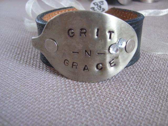 Grit -N- Grace Hand Stamped Vintage Spoon/Leather Bracelets