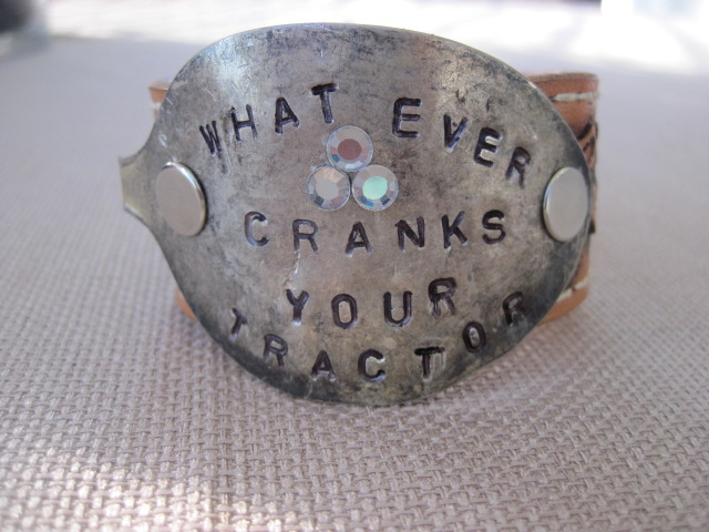 Whatever Cranks Your Tractor Hand Stamped Vintage Spoon/Leather Bracelets