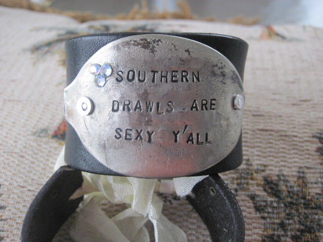 Southern Drawls are Sexy Y'all Hand Stamped Vintage Spoon/Leather Bracelets