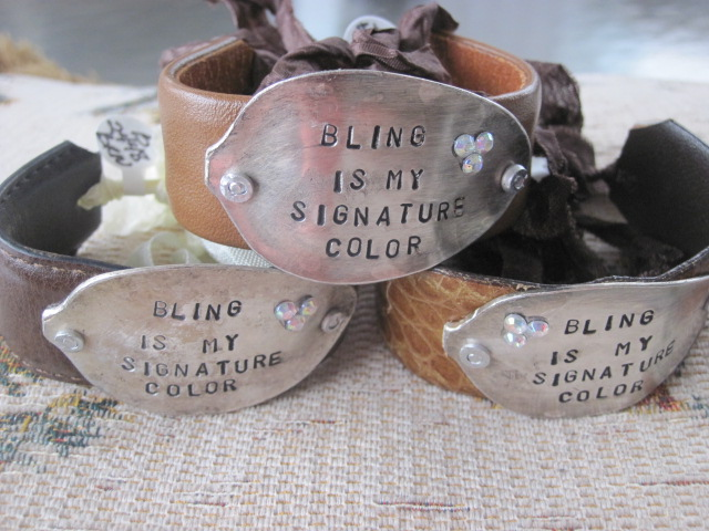 Bling Is My Signature Color Hand Stamped Vintage Spoon/Leather Bracelets