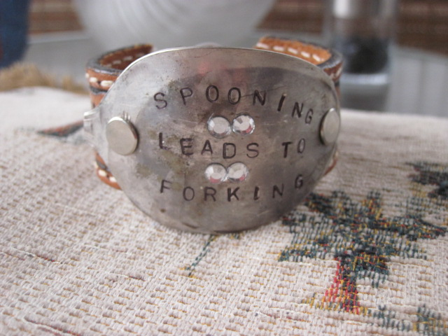 Spooning Leads to Forking Hand Stamped Vintage Spoon/Leather Bracelets