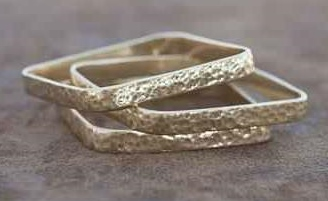 3 Square Hammered Bangles
