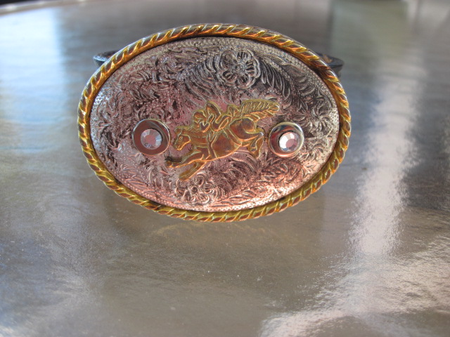 Bucking Bronco Belt Buckle on Leather Bracelets