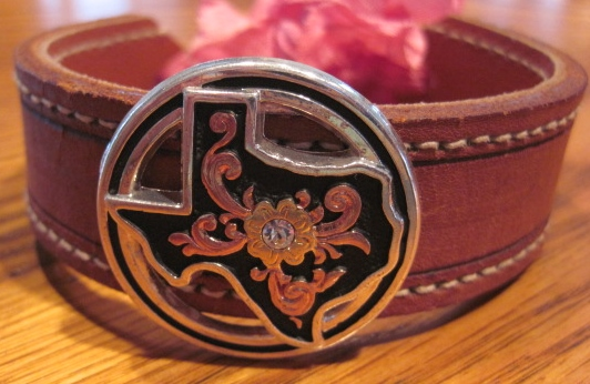 Texas State Concho Leather Bracelet or Necklace
