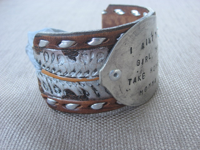 I Ain't The Girl You Take Home To Momma Hand Stamped Vintage Spoon/Leather Bracelets