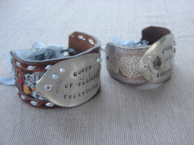 Queen of Frickin' Everything Hand Stamped Vintage Spoon/Leather Bracelets