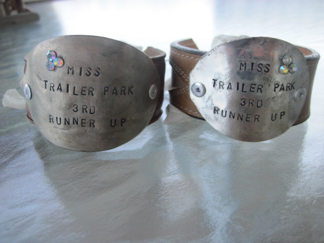 Miss Trailer Park 3rd Runner Up Hand Stamped Vintage Spoon/Leather Bracelets