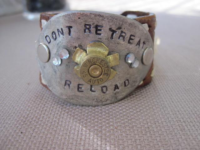 Don't Retreat Reload Hand Stamped Vintage Spoon/Leather Bracelets