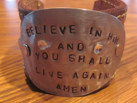 Believe in Him and You Shall Live Again AMEN Hand Stamped Vintage Spoon/Leather Bracelets