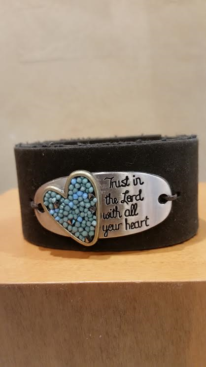 Trust in the Lord with all Your Heart Leather Bracelet