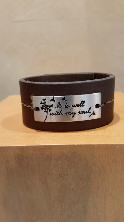 It is Well with my Soul Leather Bracelet