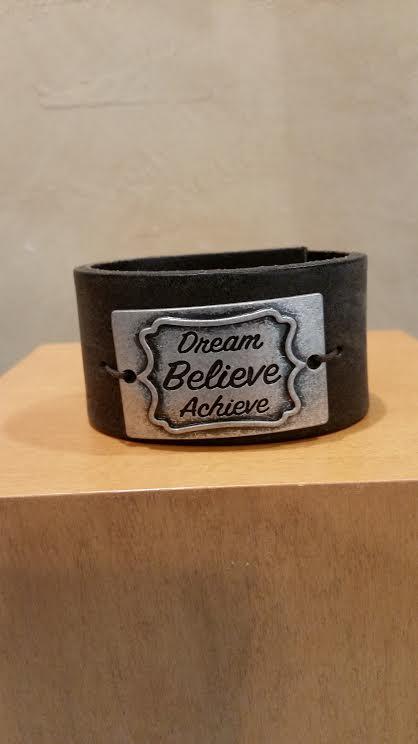 Dream Believe Achieve Leather Bracelet