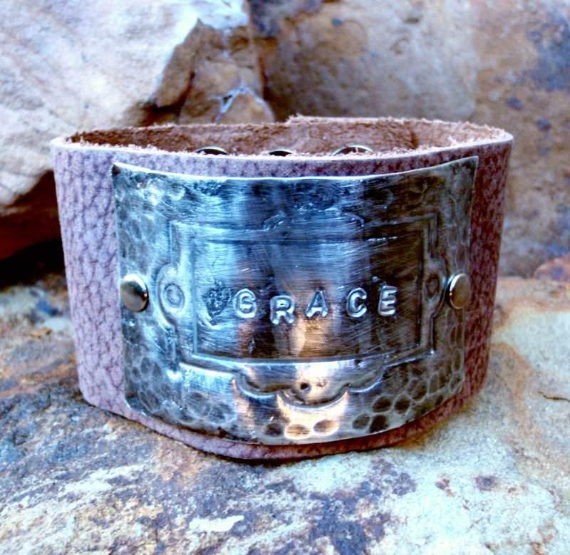 Grace Molton Metal Leather Cuff Bracelet