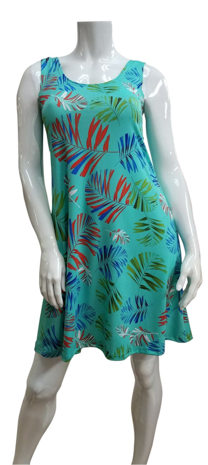 Sleeveless Mint and Royal Palm Leaf Dress