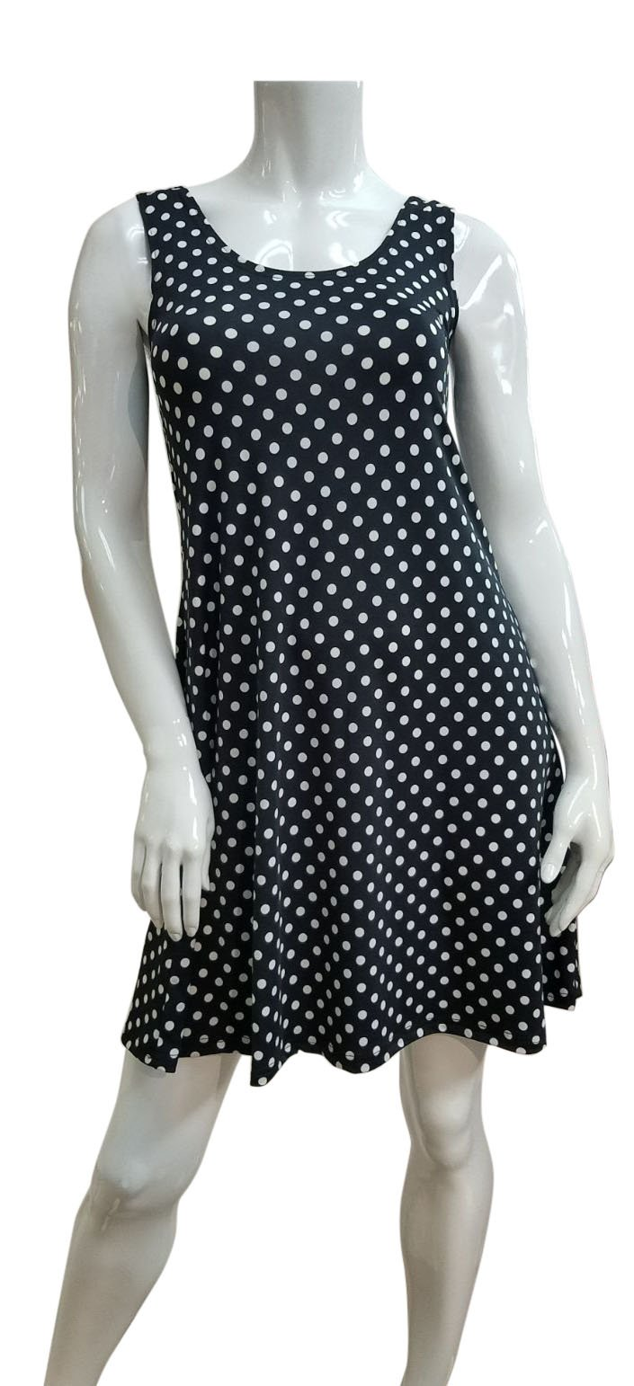 Black and White Polka Dotted Sleeveless Dress