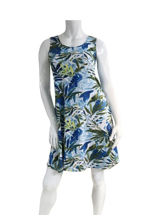 Blue, Green and White Sleeveless Dress