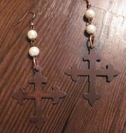 Rustic Cross Earrings with Pearl Beads