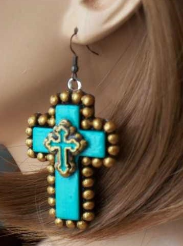 Double Turquoise and Gold Cross Earrings