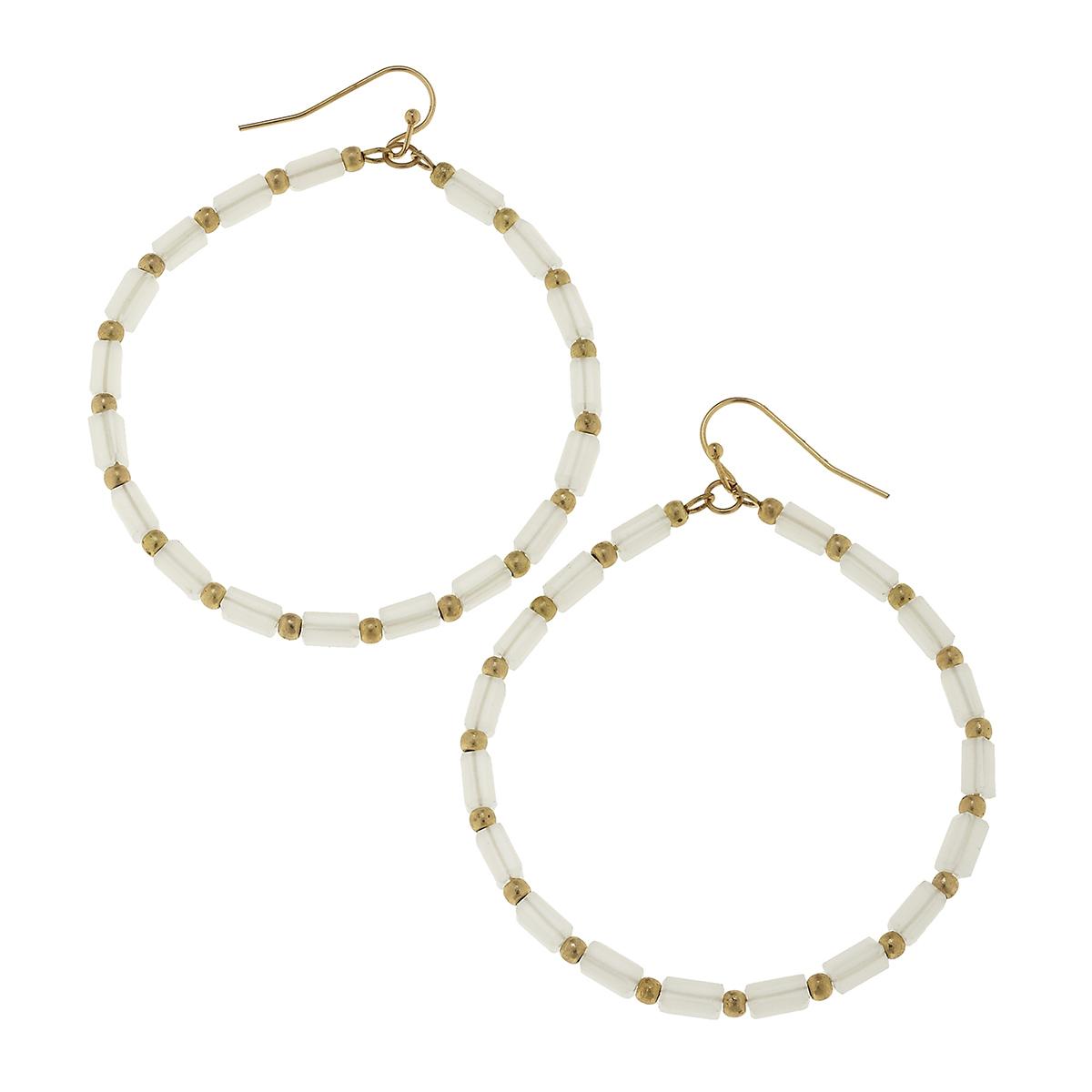 White Frost Glass Bugle Bead Hoop Earrings