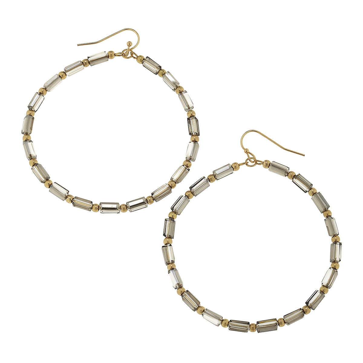Dark Grey Glass Bugle Bead Hoop Earrings