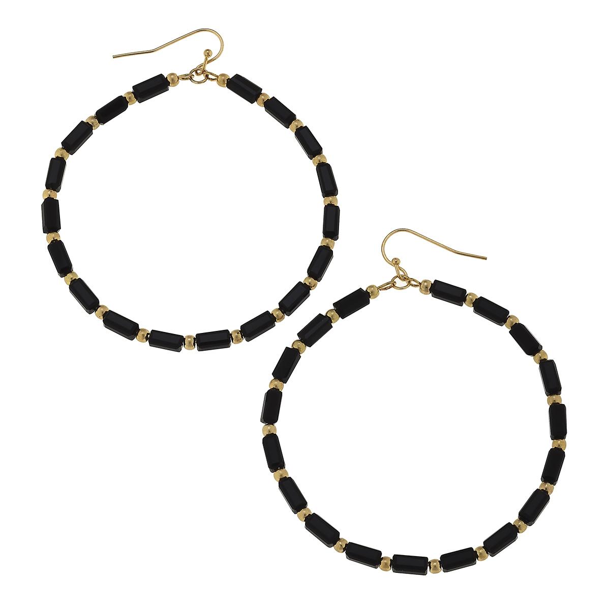 Black Glass Bugle Bead Hoop Earrings