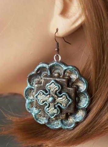 Bronze, Brown and Silver Earrings