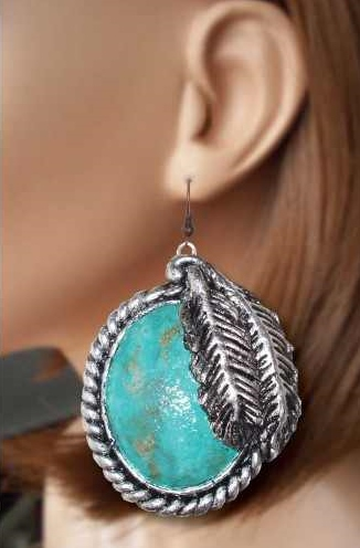 Mega Oval Feather Detailed Earrings