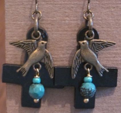 Black Swiss Cross and Bird Earrings