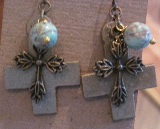 Double Cross Bead Charmed Earrings
