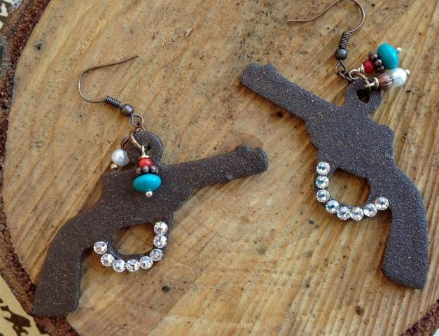 Guns Up Earrings with Bling and Charms