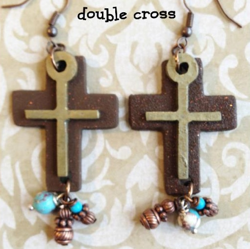 Beautiful Double Cross Earrings with Charms