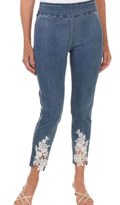 Lace Inset Pull on Flat Panel Jean