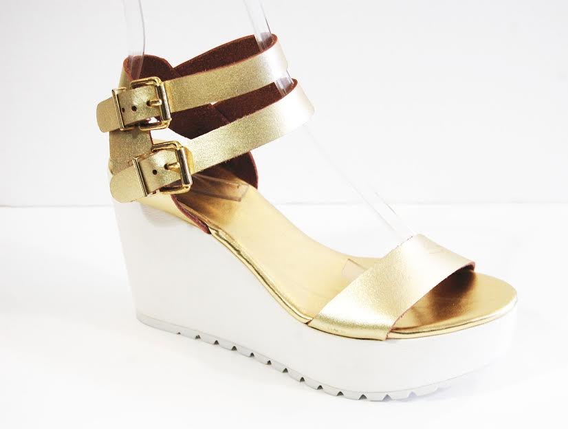 Gold Platform Wedge Sandal
