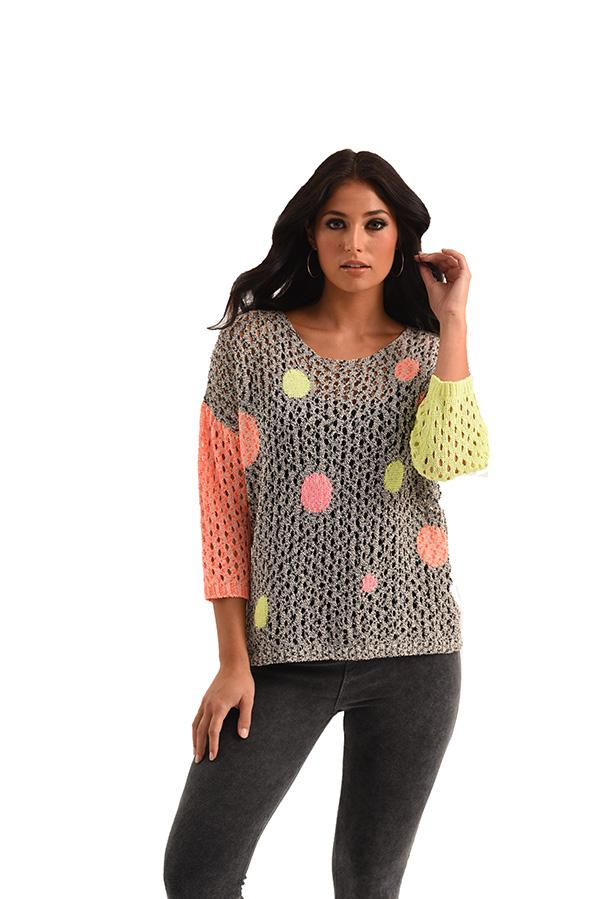 Fun Crocheted Dotted Sweater