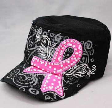 Breast Cancer Blinged Ribbon Hats