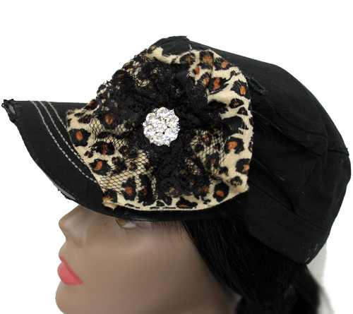 Leopard Print and Flower with Bling Hat