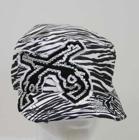 Black and White Zebra Double Pistol Cadet Hat